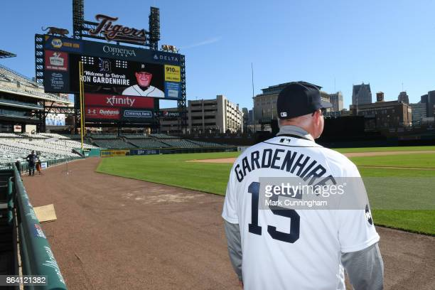 New Detroit Tigers manager Ron Gardenhire looks out over the field during the press conference to announce his signing at Comerica Park on October 20...