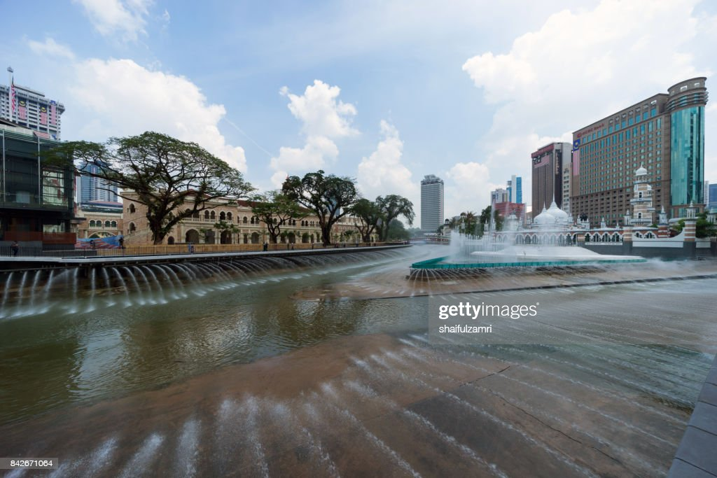 New development taking place at Masjid Jamek Kuala Lumpur as part of River of Life project by city council of Kuala Lumpur. : Stock Photo