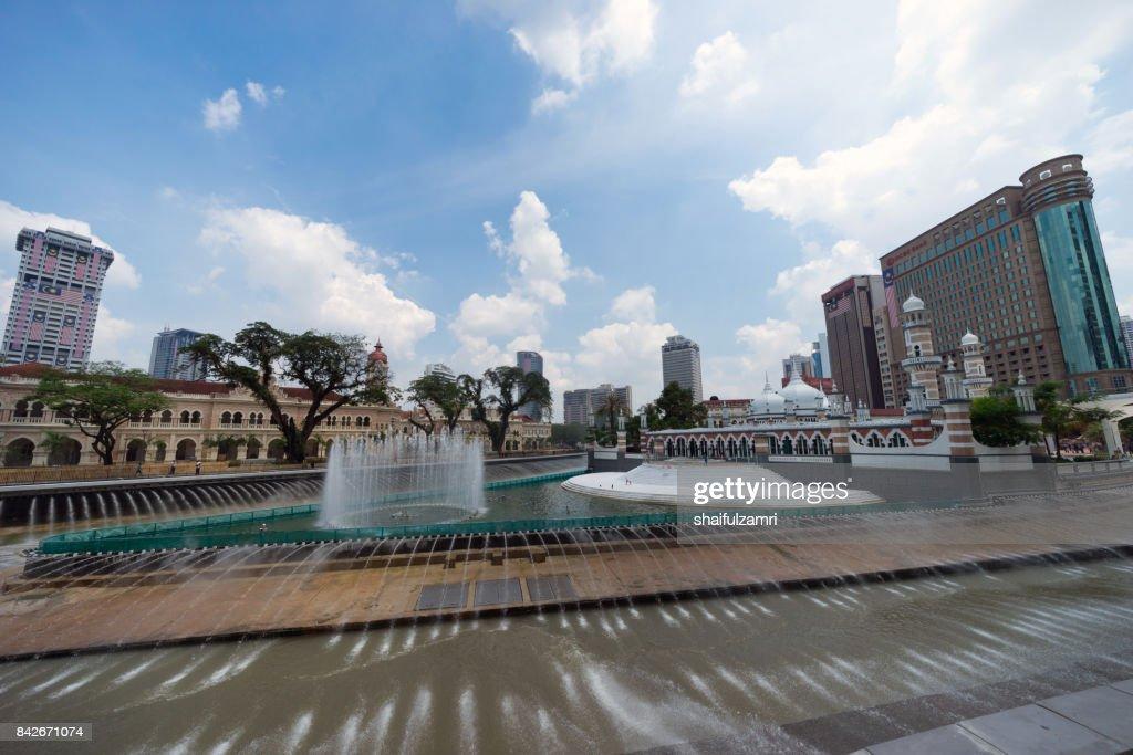 New development taking place at Masjid Jamek Kuala Lumpur as part of River of Life project by city council of Kuala Lumpur. : Stock Photo