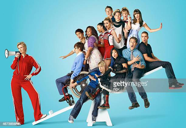 New Directions on GLEE airing Tuesdays on FOX. Pictured C: Jane Lynch. Pictured clockwise from L: Kevin McHale, Harry Shum Jr., Amber Riley, Naya...