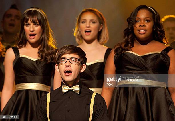 New Directions perform at Regionals in the On My Way Winter Finale episode of GLEE airing Tuesday Feb 21 on FOX Pictured LR Lea Michele Kevin McHale...