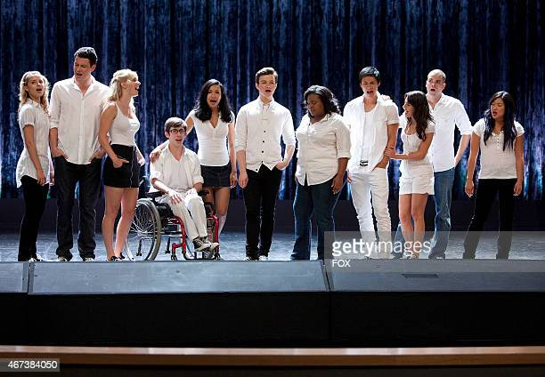 """New Directions performs in the """"Grilled Cheesus"""" episode of GLEE airing Tuesday, Oct. 5 on FOX. Pictured L-R: Dianna Agron, Cory Monteith, Heather..."""