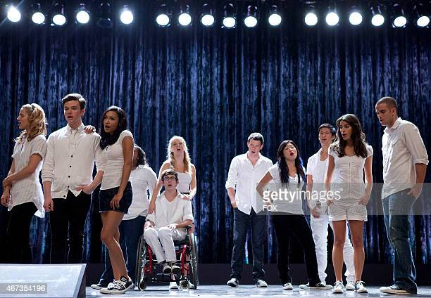 """New Directions performs in the """"Grilled Cheesus"""" episode of GLEE airing Tuesday, Oct. 5 on FOX. Pictured L-R: Dianna Agron, Chris Colfer, Naya..."""
