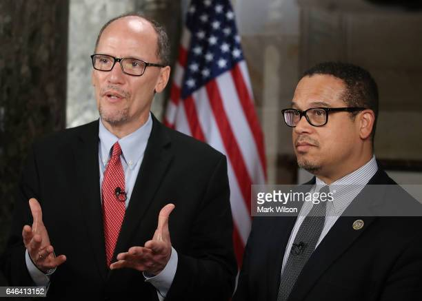 New DNC Chair Tom Perez and Deputy Chair and Rep Keith Ellison do a television interview in Statuary Hall at the US Capitol before President Donald...