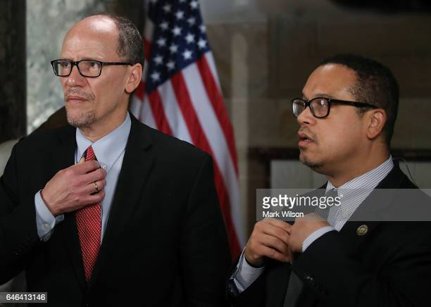 New DNC Chair Tom Perez and Deputy Chair and Rep Keith Ellison prepare to do a television interview in Statuary Hall at the US Capitol before...