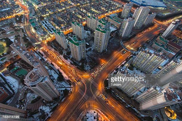 new dongtan city at night. - 水原市 ストックフォトと画像