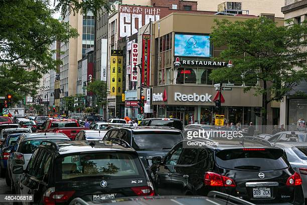 New downtown construction appears to be creating an ongoing traffic congestion problem as viewed on June 30 2015 in Montreal Quebec Canada Montreal...