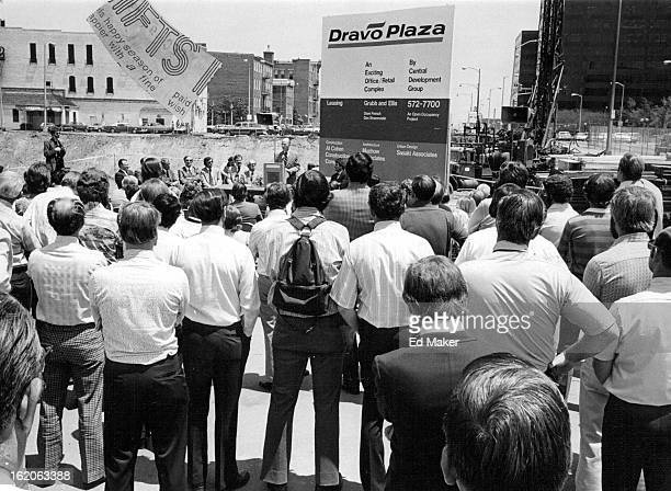 JUN 7 1976 New Dravo Plaza Named At Gathering Of Denver Leaders Civic and business leaders gathered near banks of Cherry Creek in lower downtown...