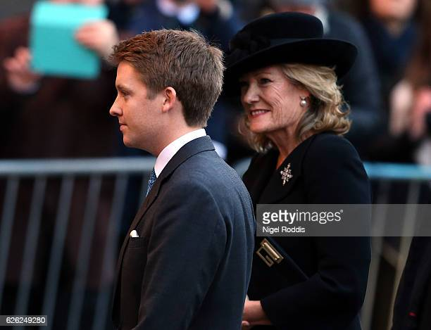 New Duke of Westminster Hugh Grosvenor arrives for the memorial service for his father The Duke of Westminster at Chester Cathedral on November 28...