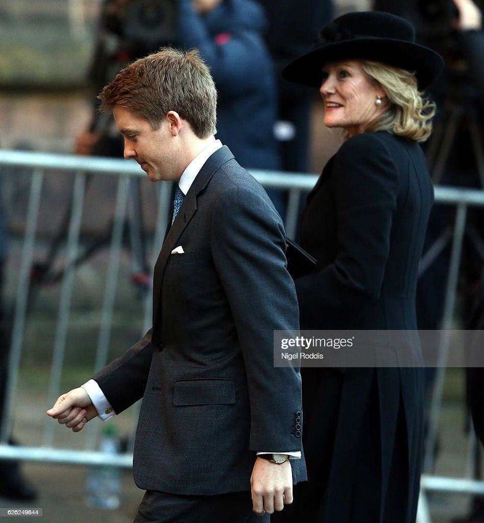 New Duke of Westminster Hugh Grosvenor arrives for the memorial service for his father, The Duke of Westminster at Chester Cathedral on November 28, 2016 in Chester, England.. The Duke is survived by his wife, the Duchess of Westminster, Natalia Grosvenor, daughters Lady Tamara van Cutsem, Lady Edwina Grosvenor and Lady Viola Grosvenor and his 25-year-old son and heir Hugh Grosvenor.