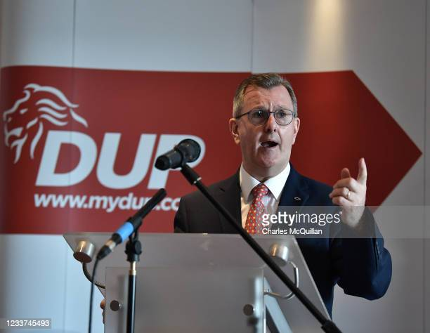 New DUP party leader Sir Jeffrey Donaldson delivers a keynote speech at The Stormont Hotel on July 1, 2021 in Belfast, Northern Ireland. Sir Jeffrey...