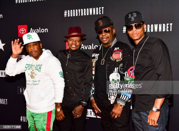 New Edition members Ronnie DeVoe Ricky Bell Bobby Brown and Michael Bivins arrive at the premiere screening of The Bobby Brown Story at Paramount...