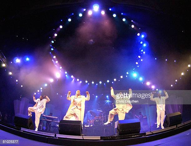 New Edition performs at the 10th Anniversary Essence Music Festival at the Superdome on July 4 2004 in New Orleans Louisiana