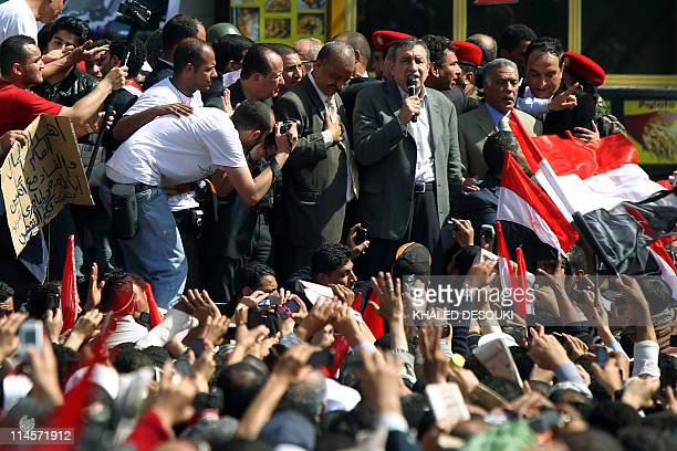 New Egyptian Prime Minister Essam Sharaf addresses thousands of demonstrators in Cairo's Tahrir Square during an uprising to demand political and...