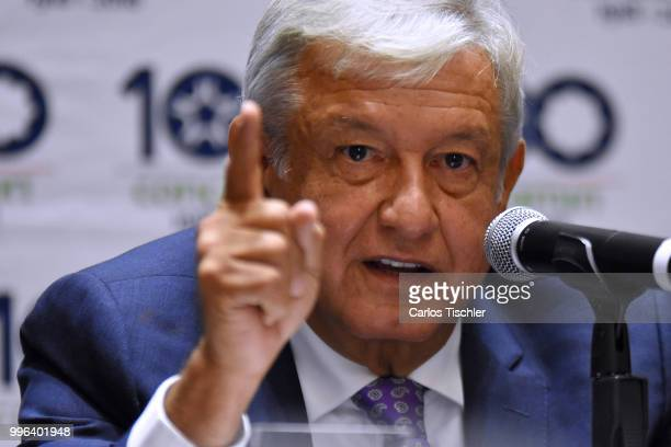 New elect president of Mexico Andres Manuel Lopez Obrador speaks during a press conference after a meeting between newly elected President of Mexico...