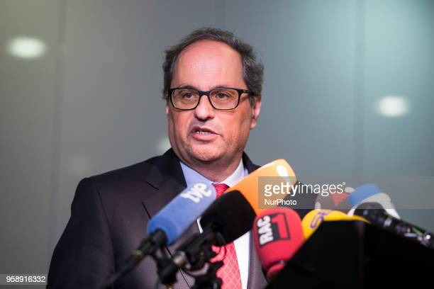 New elected Catalan Prime Minister Qim Torra is pictured during a press conference in Berlin Germany on May 15 2018