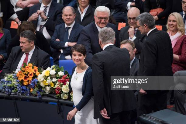 New elected president of Germany FrankWalter Steinmeier receives congratulations by Frauke Petry and Joerg Meuthen coheads of the Alternative fuer...