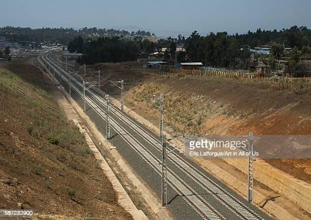 New electric railway line to djibouti addis abeba region addis ababa Ethiopia on March 8 2016 in Addis Ababa Ethiopia