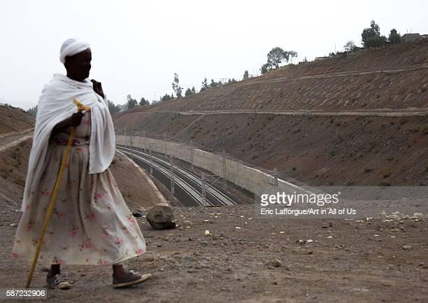 New electric railway line to djibouti, addis abeba region, addis ababa, Ethiopia on March 10, 2016 in Addis Ababa, Ethiopia.