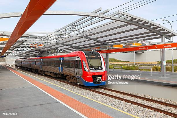 new electric train at modern suburban station - adelaide stock pictures, royalty-free photos & images