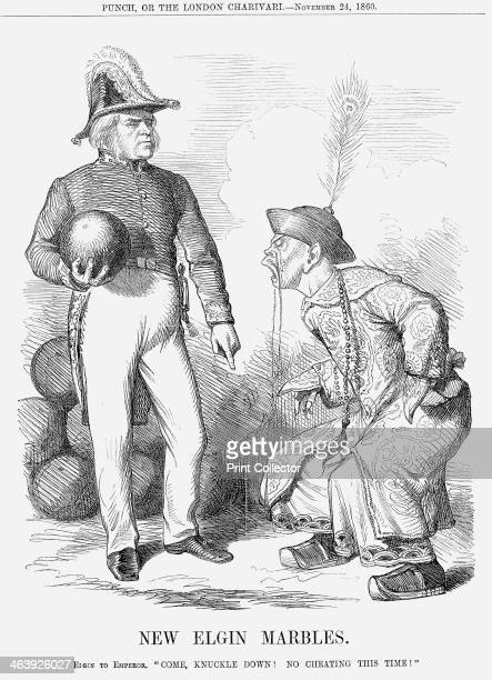 'New Elgin Marbles' 1860 Lord Elgin holds a marble the size and weight of the cannonballs with which Peking had been threatened China forced to...