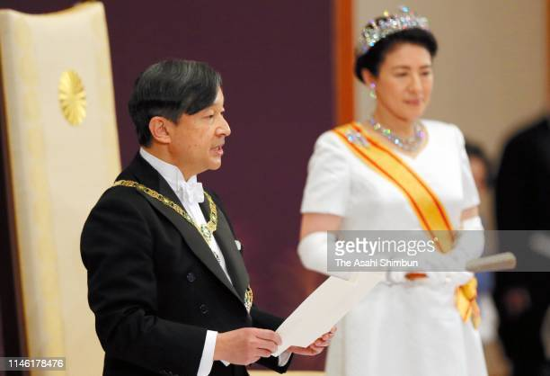 New Emperor Naruhito addresses while Empress Masako listens during the 'Sokui-go-Choken-no-Gi' ceremony that Naruhito receives representatives of the...