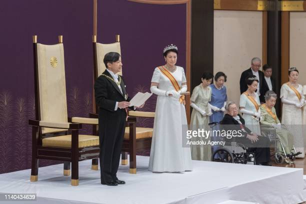 New Emperor Naruhito and Empress Masako attend the 'KenjitoShokeinogi' or Ceremony for Inheriting the Imperial Regalia and Seals at the Imperial...