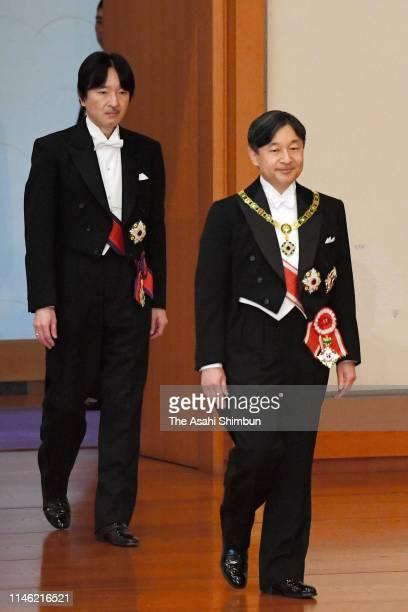 New Emperor Naruhito and new Crown Prince Akihishino enter the MatsunoMa hall to attend the KenjitoShokeinoGi ceremony to formally inherit the...