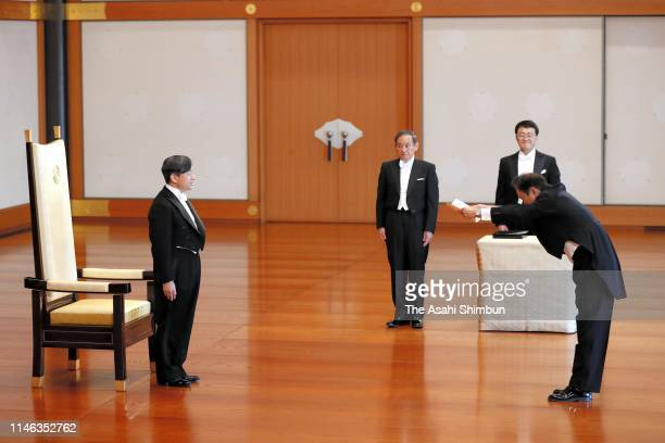New Emperor Naruhito appoints Chikao Kawai as new chief chamberlain for the Emperor Emeritus Akihito during the ceremony after his accession to the...