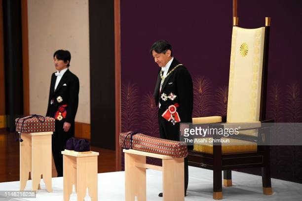 New Emperor Naruhito attends Kenji-to-Shokei-no-Gi, ceremony to formally inherit the imperial regalia and seals to mark his accession to the...