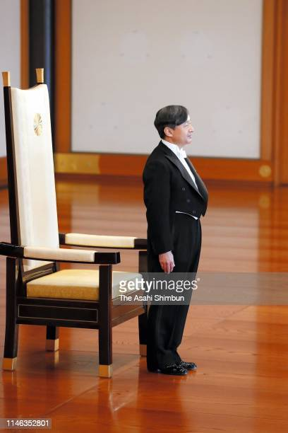 New Emperor Naruhito attends the ceremony to appoint Grand Chamberlain after his accession to the Chrysanthemum Throne at the Imperial Palace on May...