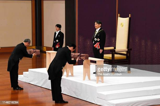 New Emperor Naruhito attends the KenjitoShokeinoGi ceremony to formally inherit the imperial regalia and seals to mark his accession to the...