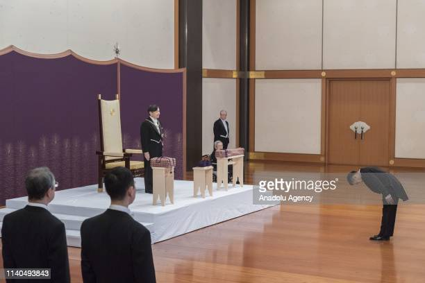 New Emperor Naruhito attends the 'KenjitoShokeinogi' or Ceremony for Inheriting the Imperial Regalia and Seals at the Imperial Palace in Tokyo Japan...