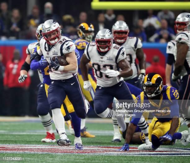 New England Aptriot Rex Burkhead runs for a long run to help run out the clock as the Pats win thier sixth title at Super Bowl LIII at MercedesBenz...