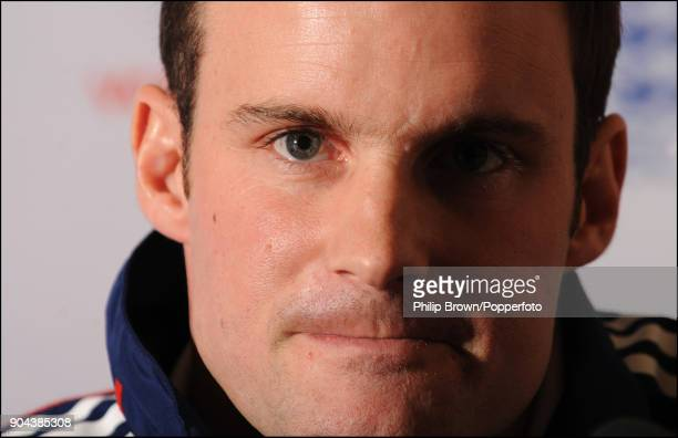 New England captain Andrew Strauss talks to the press at the Hilton Hotel Gatwick Airport before the team depart for the tour of West Indies 20th...