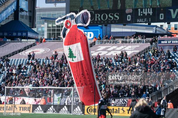 New England fans greet Chicago Fire with a banner during a game between Chicago Fire and New England Revolution at Gillette Stadium on March 7 2020...