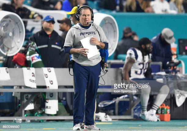 New England Head Coach Bill Belichick looks on during an NFL football game between the New England Patriots and the Miami Dolphins on December 11...