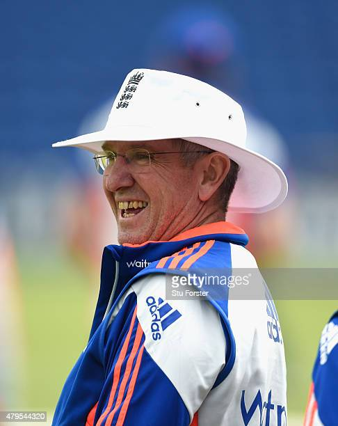 New England head coach Trevor Bayliss raises a smile during England net practice at the Swalec stadium on July 5 2015 in Cardiff Wales