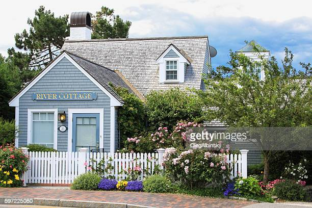 New England House with Blue and Grey Shingles, Kennebunkport, Maine.