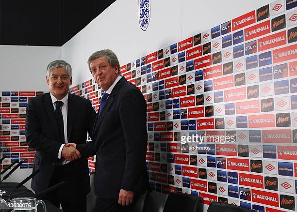 New England manager Roy Hodgson shakes hands with the FA chairman David Bernstein at a press conference at Wembley Stadium on May 1 2012 in London...