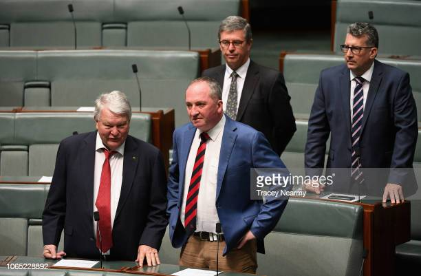New England MP Barnaby Joyce and Hinkler MP Keith Pitt with LNP MP Ken O'Dowd and Lyne MP Dr David Gillespie arrive for the first session of...
