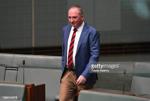 New England MP Barnaby Joyce arrives for the first session of parliament at Parliament House on November 26, 2018 in Canberra, Australia. The...