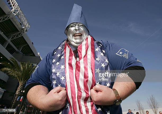 New England Patriot fan Birchall from Rode Island cheers before the start of Super Bowl XXXIX between the New England Patriots and the Philadelphia...