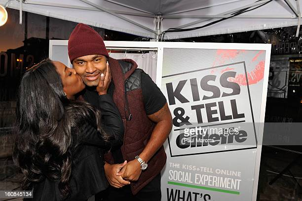 New England Patriot Jerod Mayo and wife Chantel Mayo Kiss Tell at Gillette's Live National Experiment in Boston to determine which kiss is best a...