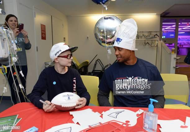 New England Patriot Jordan Matthews visits with Jack at Boston Children's Hospital on May 16 2018 in Boston Massachusetts
