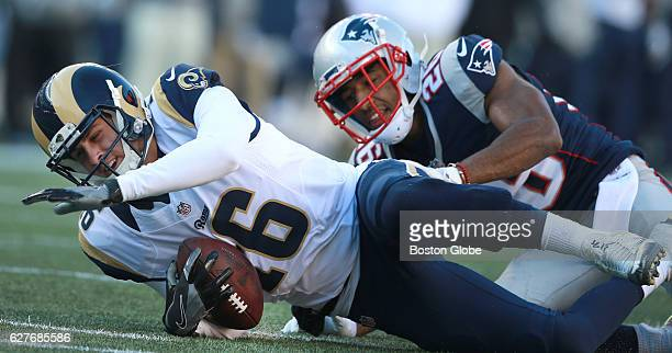 New England Patriot Logan Ryan takes down receiver Cody Core during the second quarter The New England Patriots host the Los Angeles Rams in a...
