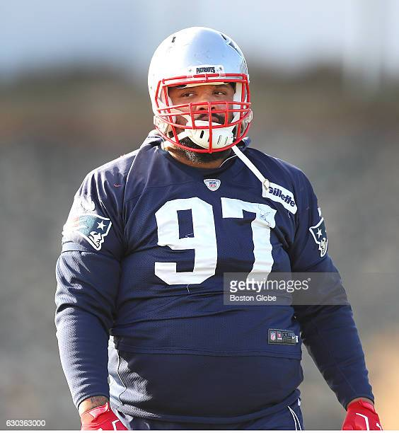New England Patriots' Alan Branch is pictured during warmups at Patriots practice at Gillette Stadium in Foxborough MA on Dec 21 2016