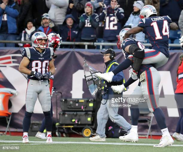 New England Patriots Brandin Cooks rides teammate Rob Gronkowski like a horse after his 5yard touchdown reception to the delight of Danny Amendola...