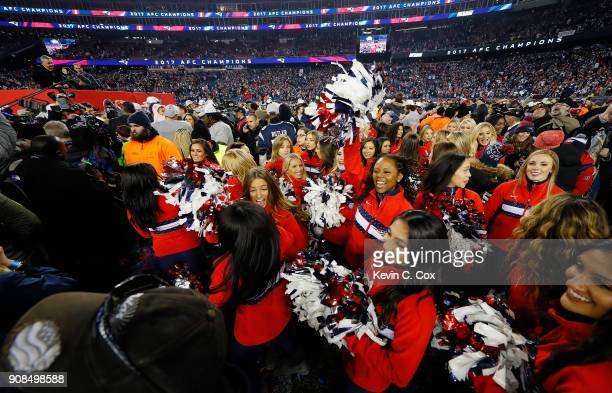 New England Patriots cheerleaders celebrate after the AFC Championship Game against the Jacksonville Jaguars at Gillette Stadium on January 21 2018...