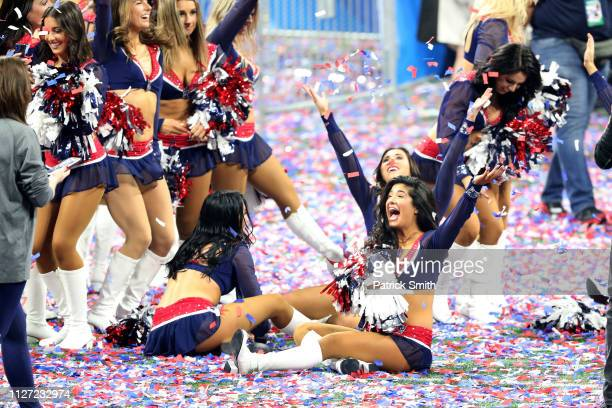 New England Patriots cheerleaders celebrate their 133 win over Los Angeles Rams during Super Bowl LIII at MercedesBenz Stadium on February 03 2019 in...